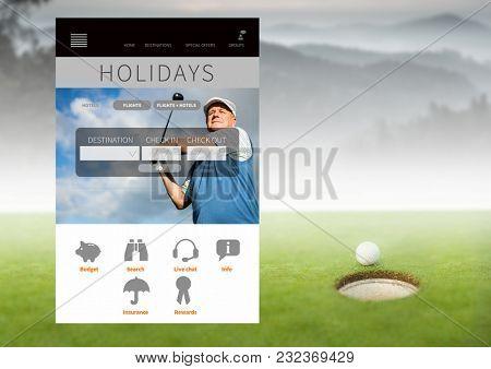 Digital composite of Golf holiday break App Interface