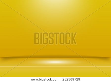 Abstract Yellow Studio Room Background With Lighting On Stage. Vector Illustration