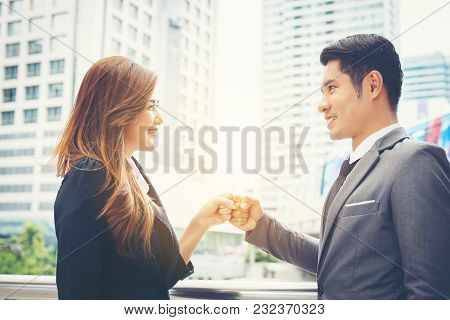 Business People Hand Clasping Success Trust, Confident Concept.