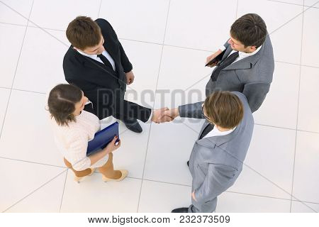 view from the top. handshake business partners