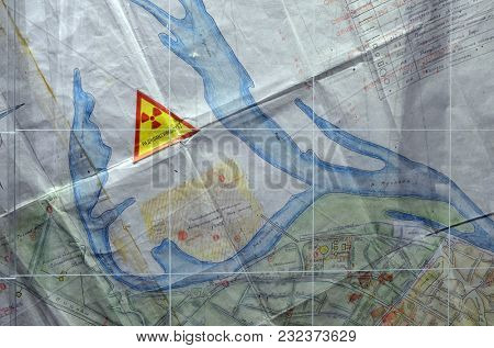 Map of radioactive contamination fragment. Museum of the History of Chernobyl Disaster. March 20, 2018 in Kiev,Ukraine