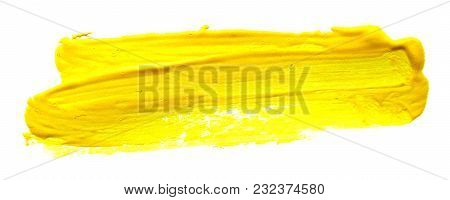 Yellow Abstract Gouache Brush Stroke On A White Background