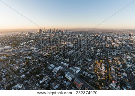 Dawn aerial view of Echo Park and downtown Los Angeles in Southern California.