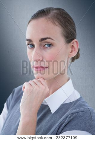 Digital composite of Close up of business woman thinking against navy background