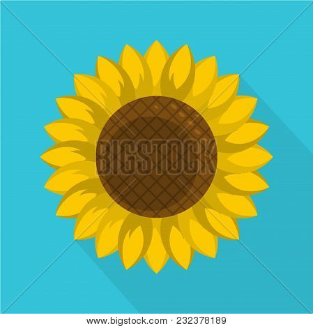 Round Sunflower Icon. Flat Illustration Of Round Sunflower Vector Icon For Web