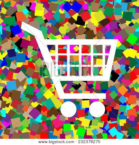 Shopping Cart Sign. Vector. White Icon On Colorful Background With Seamless Pattern From Squares.