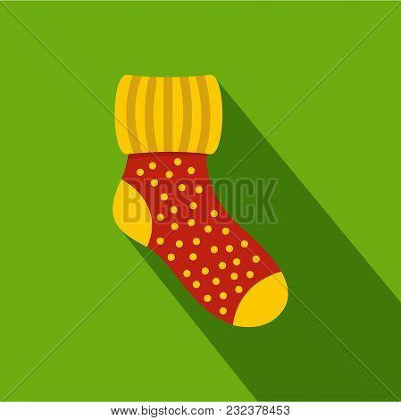 Woolen Sock Icon. Flat Illustration Of Woolen Sock Vector Icon For Web