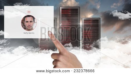 Digital composite of Hand touching Identity App Interface in front of servers