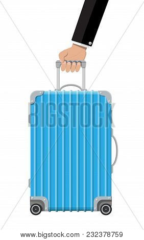Blue Travel Bag In Hand. Plastic Case. Trolley On Wheels. Travel Baggage And Luggage. Vector Illustr