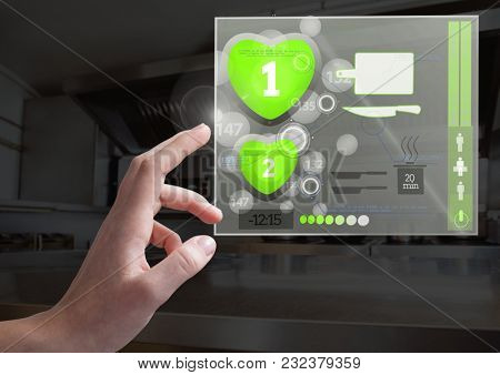 Digital composite of Hand touching Cooking App Interface