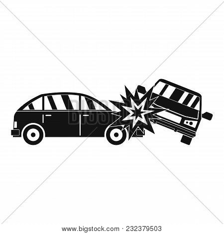 Crashed Car Icon. Simple Illustration Of Crashed Car Vector Icon For Web