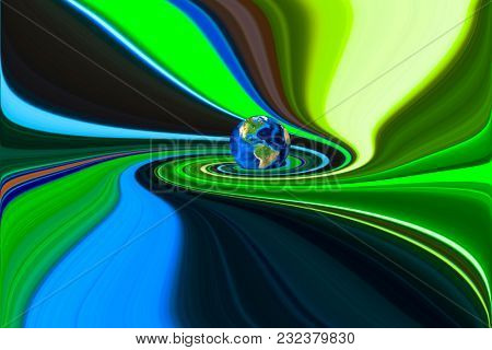 Planet Earth in swirling colorful background. 3D rendering