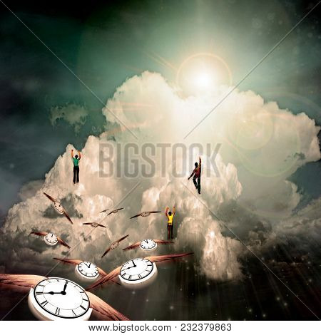 People hikes to the cloud. Winged clocks represents flow of time. 3D rendering