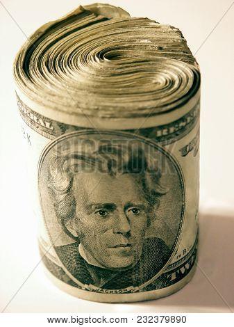 Large roll of US bills. 3D rendering