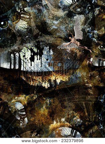 Grunge Dark Textured Manhattan Bridge Abstract. Clock face and eyes. Naked winged man represents angel. 3D rendering