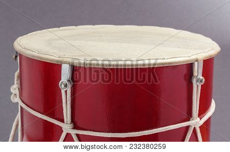 Georgian Traditional Musical Instrument, Drum Red Colored Named Doli Drumhead Membrane Close-up Grey