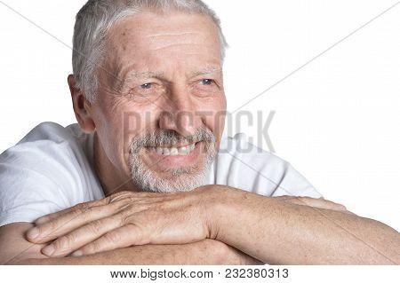 Portrait Of   Senior Man Posing  Isolated On White Background