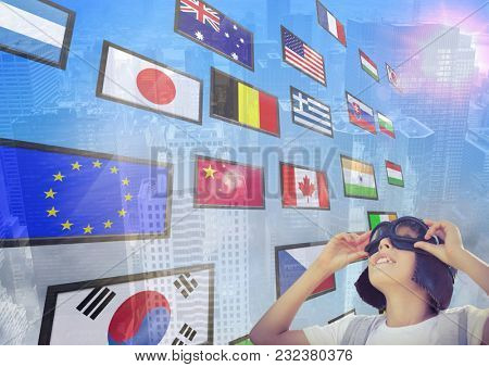 Digital composite of panel with flags, city background. aeronautic boy looking up