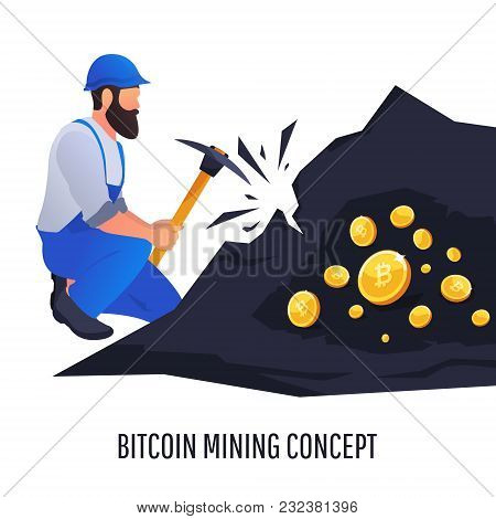 Mining. Person Extracting Coins From Rock With A Pickaxe. Vector Illustration With Binary Computer C