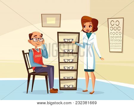 Vector Cartoon Woman Doctor Ophthalmologist Helps Adult Man Patient With Diopters Glasses Selection.