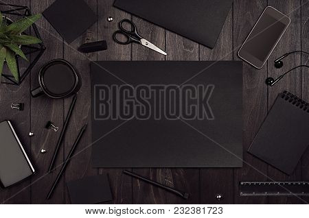 Luxury Corporate Identity Template, Work Place With Black Blank Paper Stationery Set On Dark Elegans