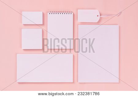 Blank White Stationery Collection On Elegant Soft Pastel Pink Background. Corporate Identity Templat
