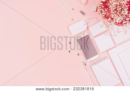 White Blank Stationery Set With Heather Flowers, Phone On Soft Pink Elegance Stylish Background. Moc