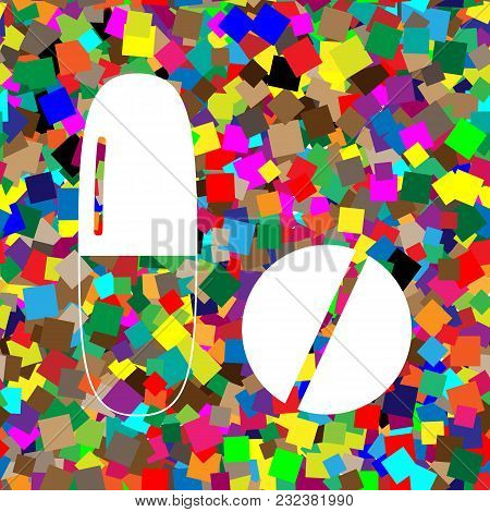 Medical Pills Sign. Vector. White Icon On Colorful Background With Seamless Pattern From Squares.