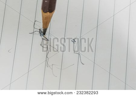 Closeup Of Pencil Tip Standing Vertically On Lined White Paper With Scribbles In Lead