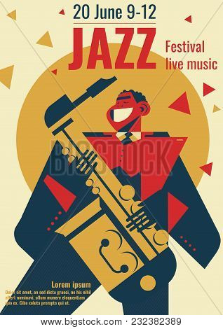 Jazz Music Festival Poster Vector Illustration. Jazz Club Band Concert Placard Flat Retro Or Modern