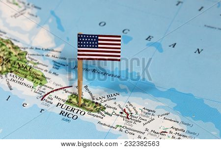 Map With Pin Point Of Puerto Rico With Flag