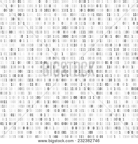 Random Binary Coding. Technology Digital Background. Black And White Binary Code. Vector Illustratio