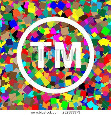 Trade Mark Sign. Vector. White Icon On Colorful Background With Seamless Pattern From Squares.