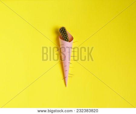 Cactus Fashion Design. Minimal Fashion Stillife. Trendy Bright Colors. Green Cactus Ice Cream On A Y
