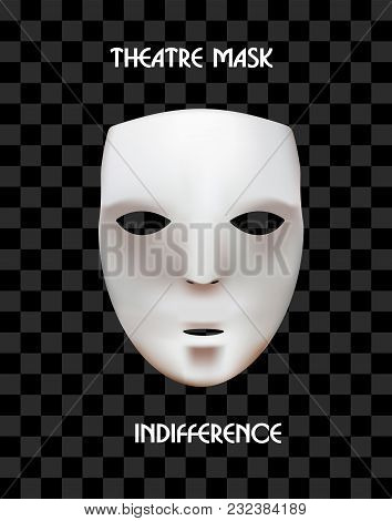 Mask Of The Theater On A Checkered Background. The Indifferent Mask. Calm Down.