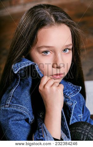 Closeup Portrait Teenager Girl.perfect Face, Skin, Female Teen.beautiful Model Child Girl Looks Conf