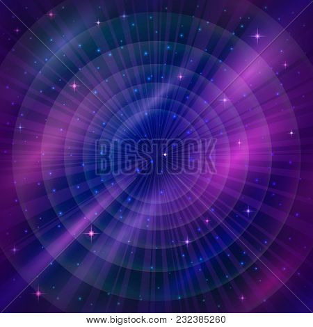 Space Background With Dark Blue Sky And Bright Stars. Eps10, Contains Transparencies. Vector
