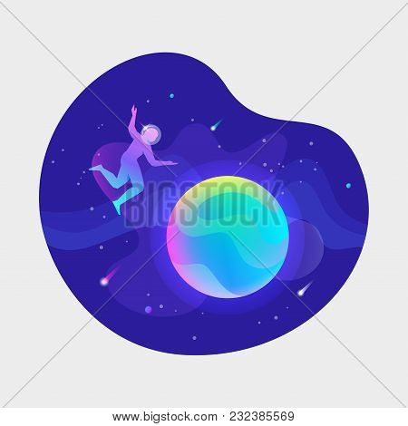 Vector Ui Illustration Of An Astronaut Floating Over Planet In An Outer Space On Bright Blue Backgro