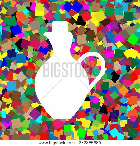 Amphora Sign Illustration. Vector. White Icon On Colorful Background With Seamless Pattern From Squa