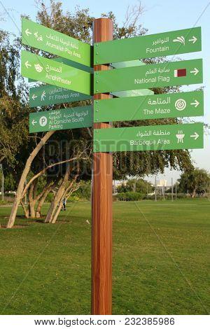 BIDDA PARK, Doha, Qatar - March 21, 2018: A signpost in the newly opened Bidda Park in the centre of Qatar's capital,indicating various attractions.