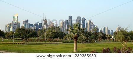 BIDDA PARK, Doha, Qatar - March 21, 2018: View of the newly opened Bidda Park in the centre of Qatar's capital,