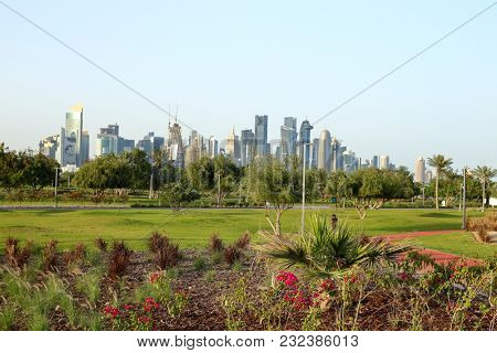 BIDDA PARK, Doha, Qatar - March 21, 2018: View of the freshly laid flowerbeds in the new park in Qatar's capital,