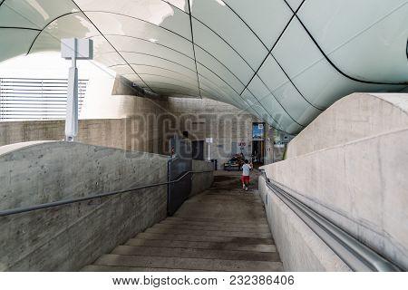 Innsbruck, Austria - August 9, 2017: Funicular Station Designed By Zaha Hadid Architects. Hungerburg