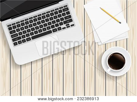 Office Desk, Workplace Desk Table With Laptop, Glasses, Notebook, Pencil, Coffee. Vector Illustratio