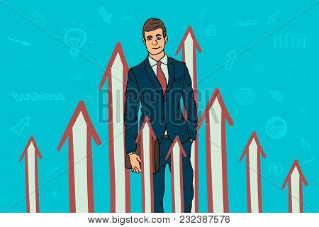 Businessman And Arrow Graphs Pointing Up. Cartoon