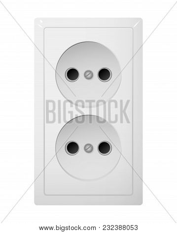 Dual Electrical Socket Type C. Power Plug Vector Illustration. Realistic Receptacle From South Ameri