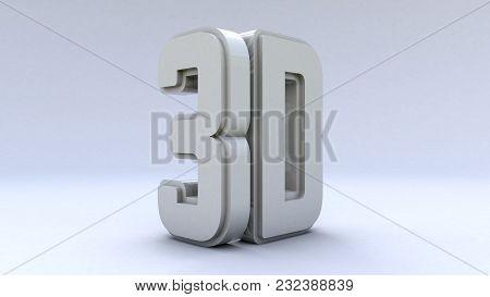 Illustration Large Three-dimensional Logo On A White Isolated Matte Background. Shiny White Paint. 3