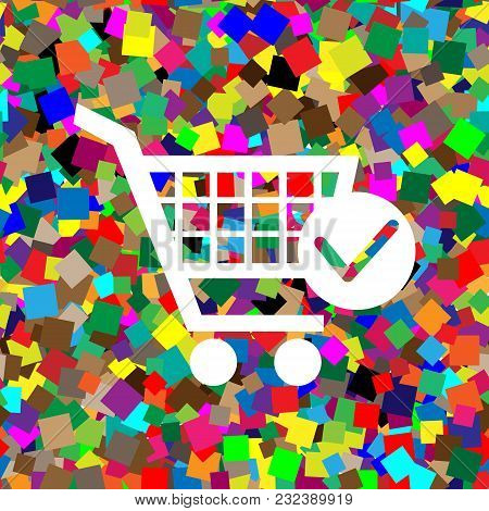 Shopping Cart With Check Mark Sign. Vector. White Icon On Colorful Background With Seamless Pattern
