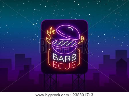Barbecue Logo Vector. Neon Sign, Symbol, Bright Advertising Night Barbecue, Grill, Roast Meat, Grill