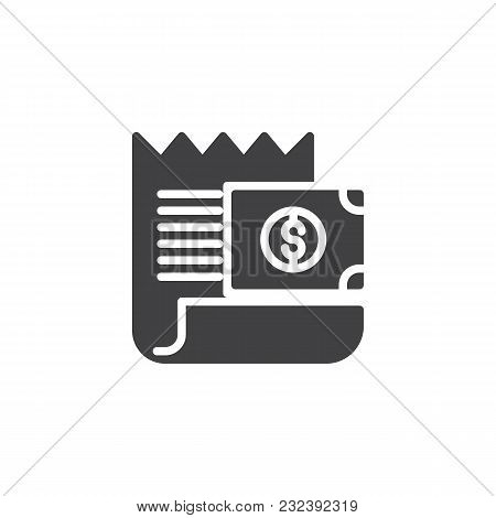 Bill With Dollar Money Outline Icon Vector Icon. Filled Flat Sign For Mobile Concept And Web Design.